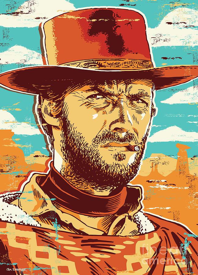 Illustration Digital Art - Clint Eastwood Pop Art by Jim Zahniser