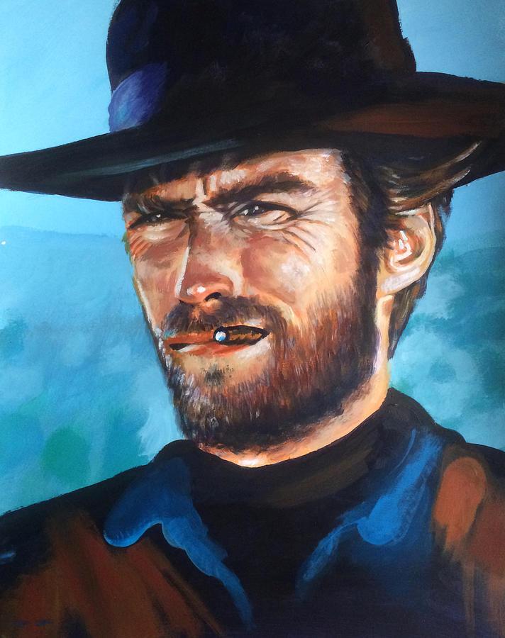 Clint Eastwood Portrait Painting by Robert Korhonen