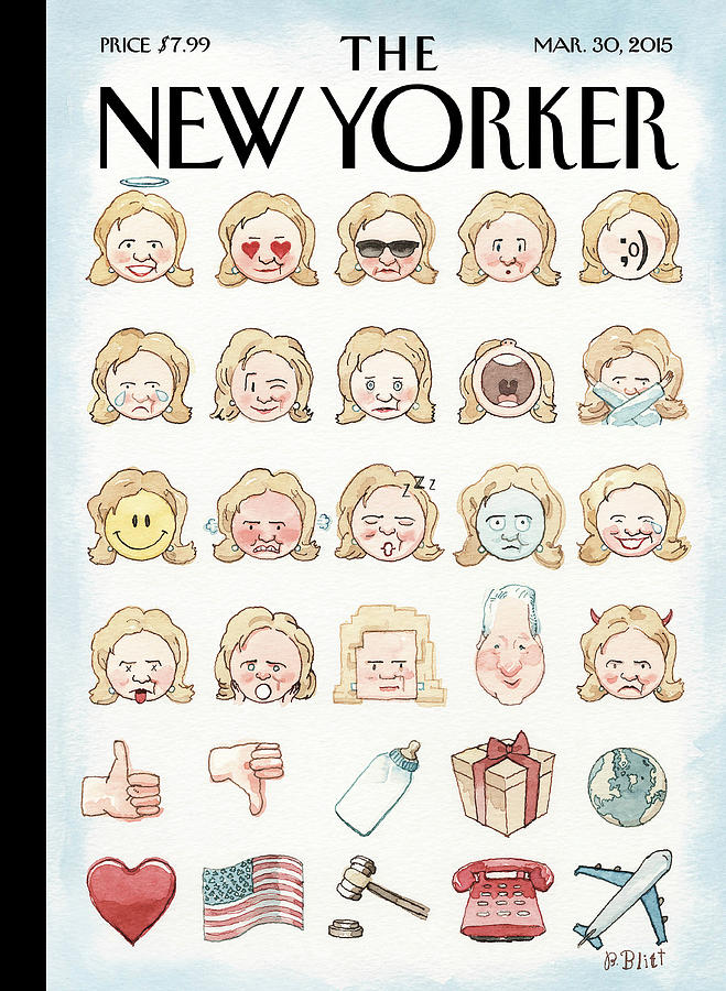 Clintons Emoji Painting by Barry Blitt