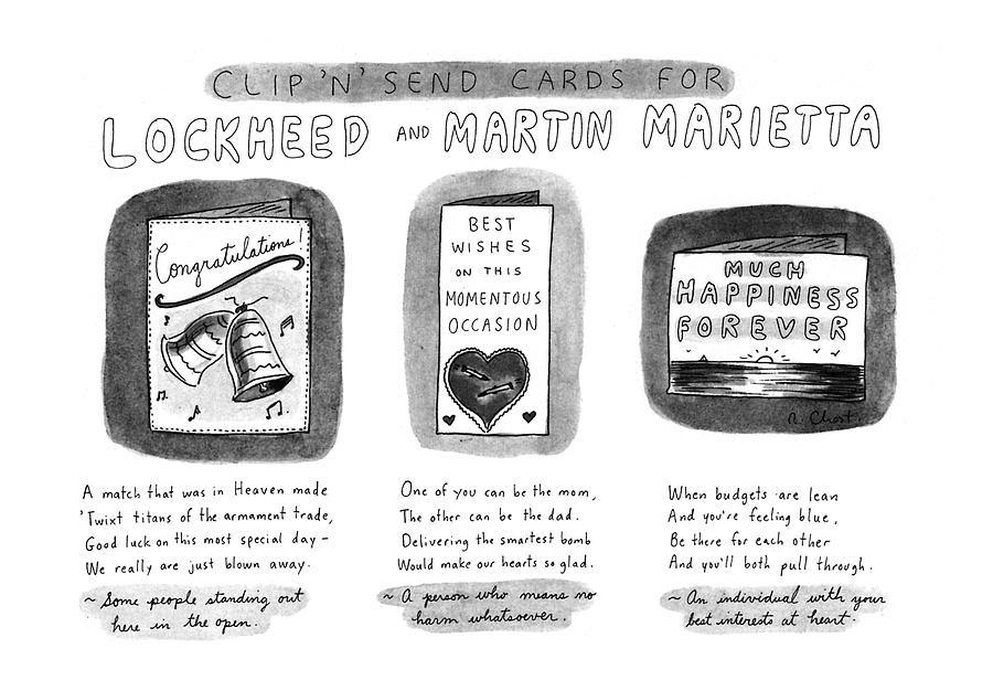 Clip n Send Cards For Lockheed And Martin Drawing by Roz Chast