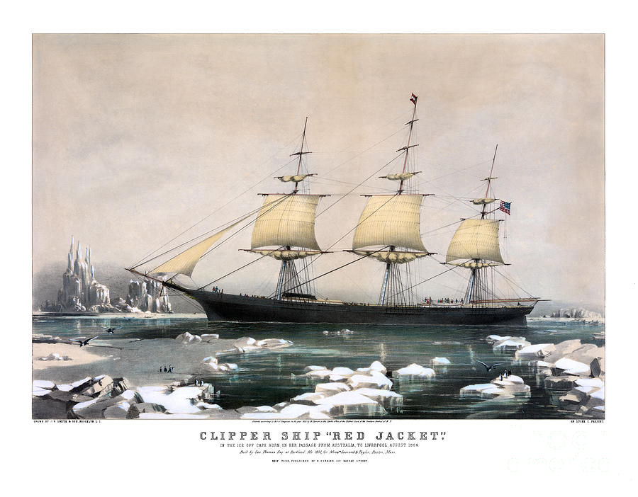 clipper ship red jacket 1855 painting by pablo romero
