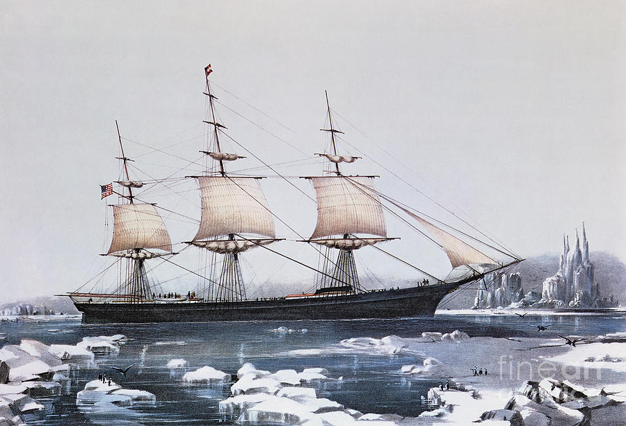 Ice Floes Painting - Clipper Ship Red Jacket In The Ice Off Cape Horn On Her Passage From Australia To Liverpool by American School