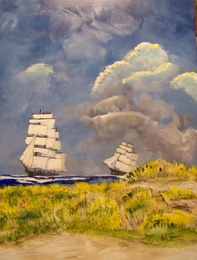Acrylic Painting - Clipper Ships Safely Round Cape Horn by Rich Mason