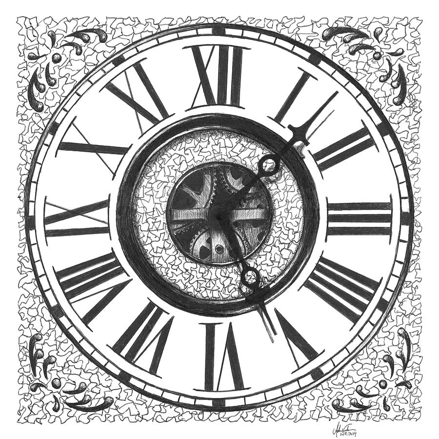 Clock Face Drawing By Adam Vereecke