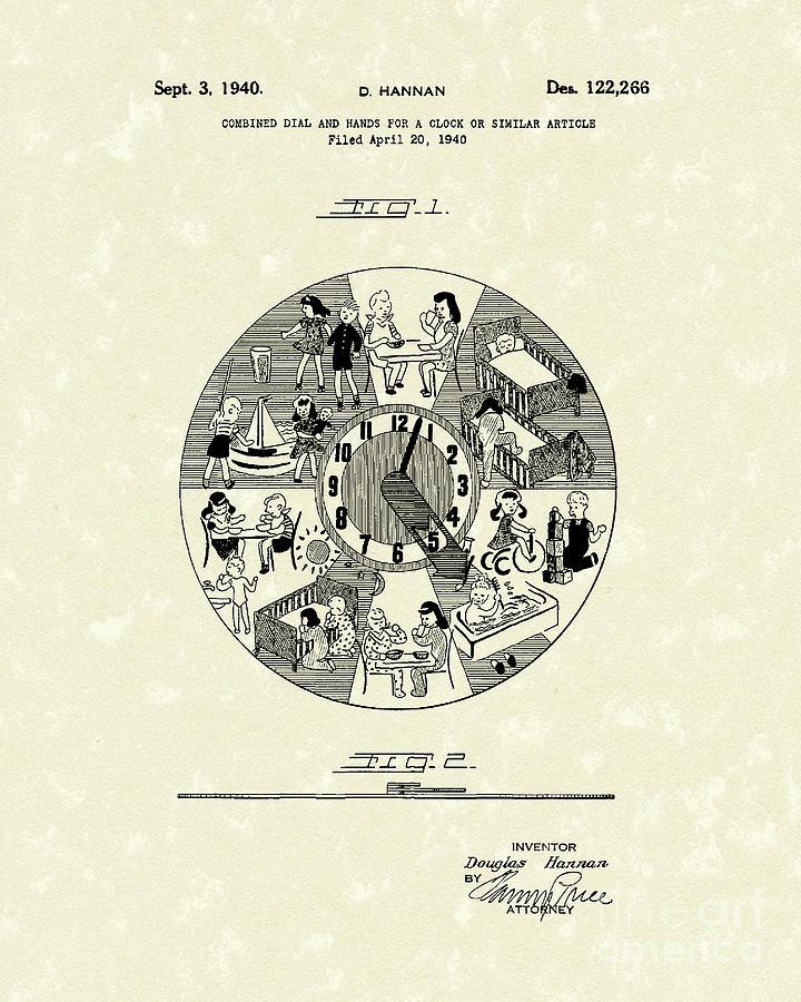 Hannan Drawing - Clock Hands 1940 Patent Art by Prior Art Design