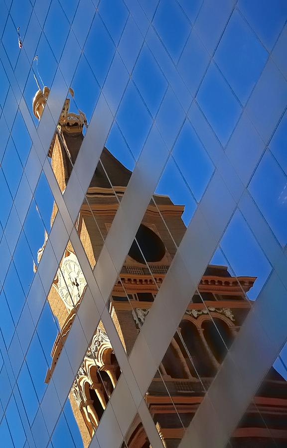 Clock Tower And Flag Reflections 5411 Photograph