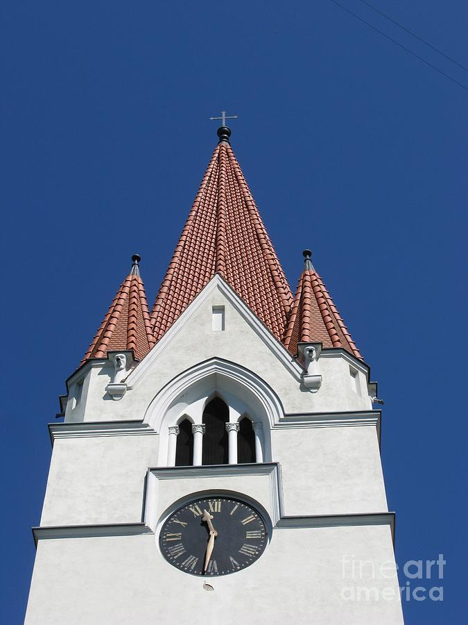 Clock Photograph - Clock Tower. Evangelic Lutheran Church. Silute. Lithuania. by Ausra Huntington nee Paulauskaite