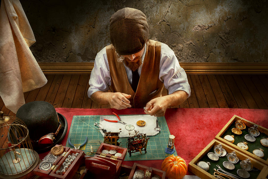 Steampunk Photograph - Clockmaker - A Demonstration In Horology by Mike Savad
