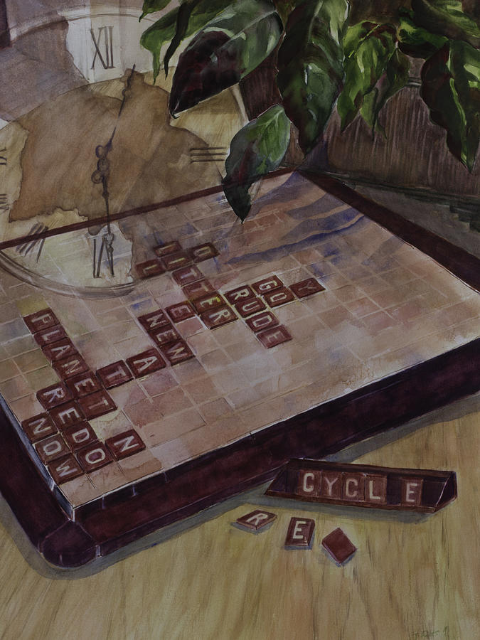 Scrabble Painting - Clockwise Green by Janet Felts