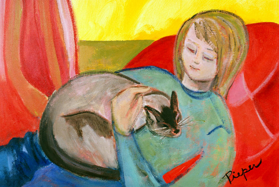 Girl With Cat Painting - Close At Heart by Betty Pieper