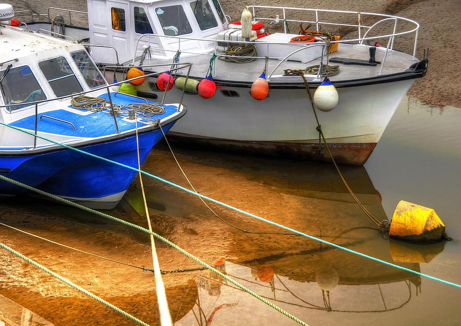 Anchored Photograph - Close Up Boats by Svetlana Sewell