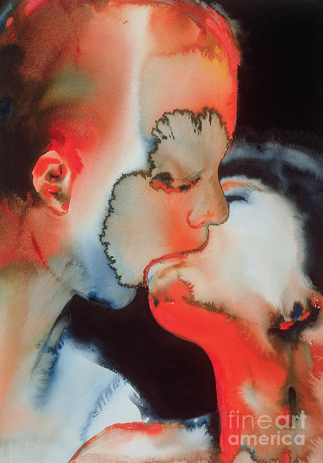 Snog Painting - Close Up Kiss by Graham Dean