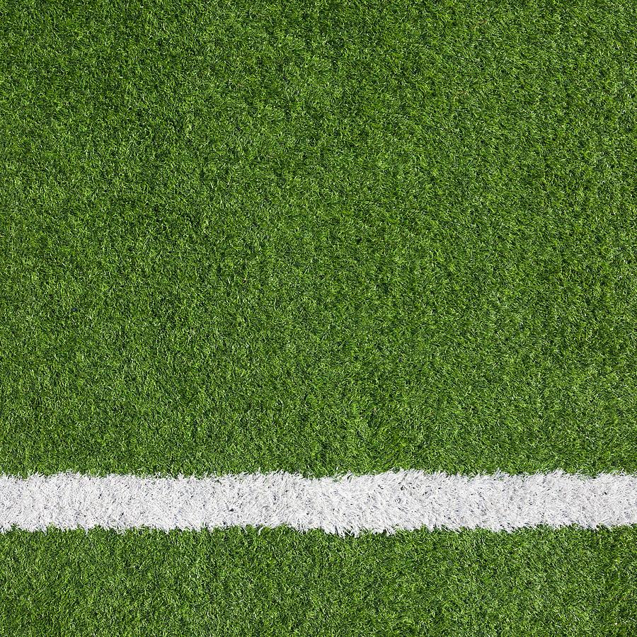 Close-up of a boundary line on a soccer field Photograph by Mutlu Kurtbas