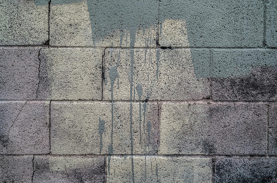 Horizontal Photograph - Close-up Of A Grey Brick Wall by Panoramic Images