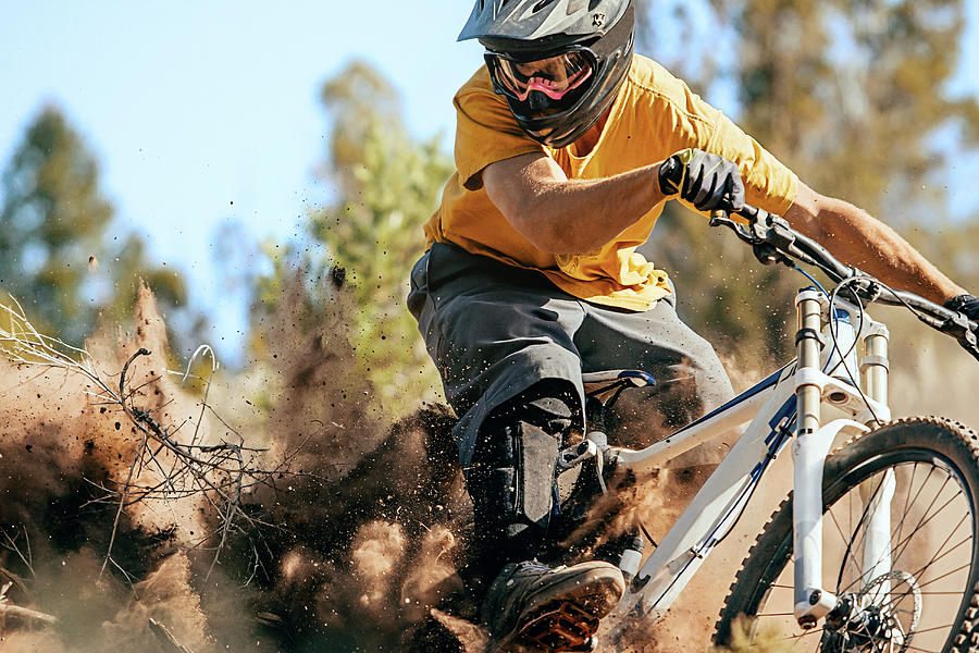 Close Up Of A Mountain Biker Ripping Photograph by Daniel Milchev