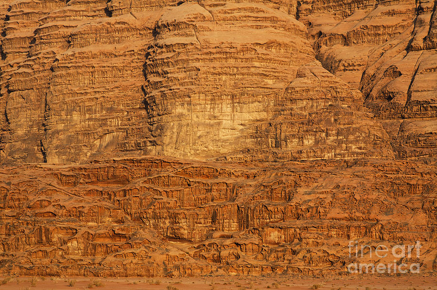 Wadi Rum Photograph - Close Up Of A Rocky Outcrop At Wadi Rum In Jordan by Robert Preston