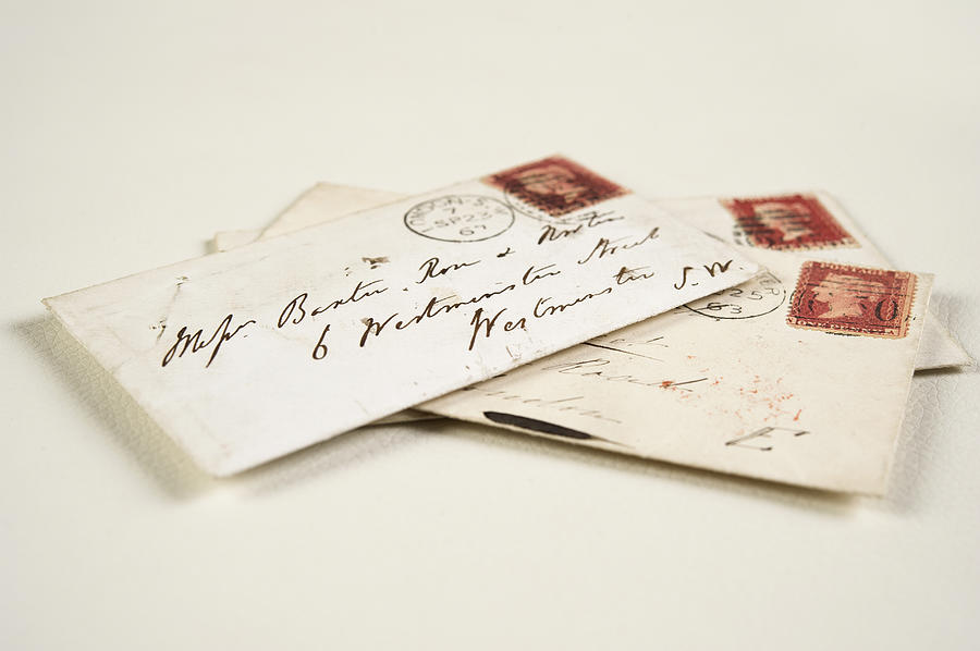 Close up of addressed vintage mail envelopes Photograph by Jacobs Stock Photography Ltd