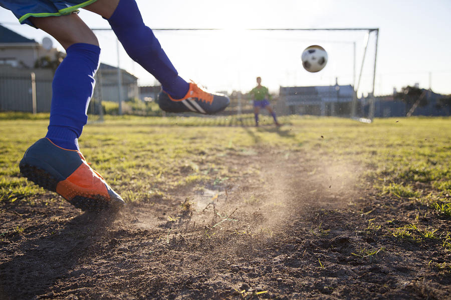 Close Up Of Boy Taking Soccer Penalty Photograph by Alistair Berg