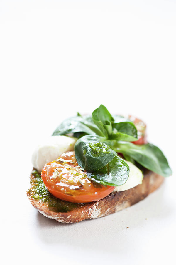 Close Up Of Bread With Cheese And Tomato Photograph by Henn Photography