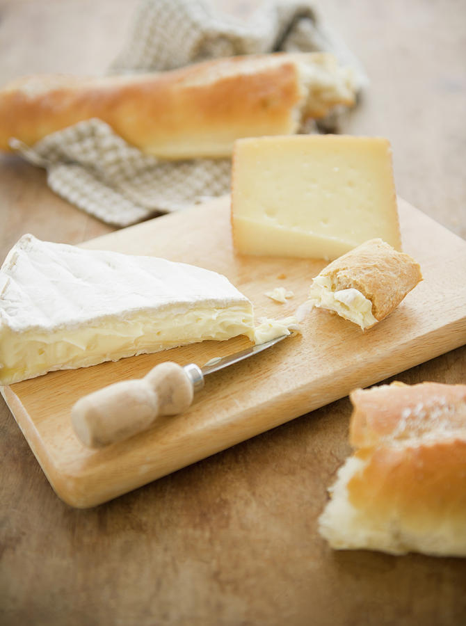 Close Up Of Cheese And Baguette On Photograph by Tetra Images - Jamie Grill