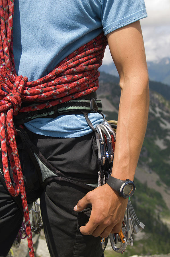 Action Photograph - Close Up Of Climber With Rope Slinged by Heath Korvola