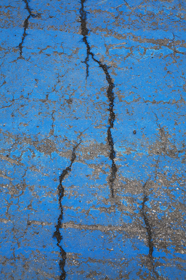 Outdoors Photograph - Close Up Of Cracks On A Blue Painted by Perry Mastrovito