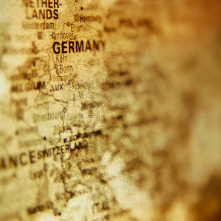 Close-up Of Map Of Western Europe Photograph by Ryan McVay