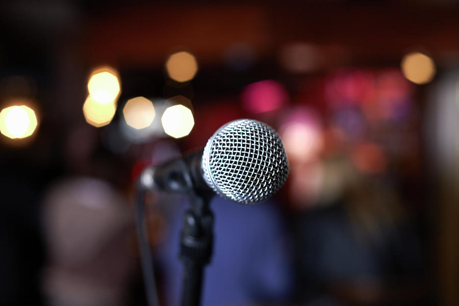 Close Up Of Microphone On Stage In Photograph by Gary John Norman