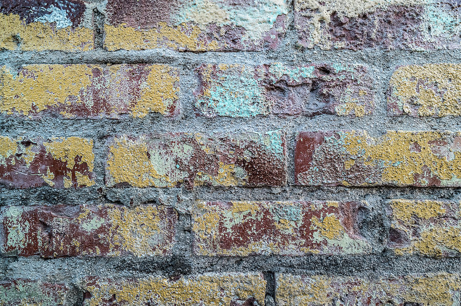 Horizontal Photograph - Close-up Of Old Brick Wall by Panoramic Images