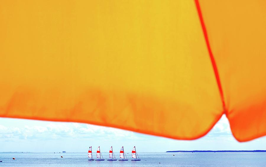 Close-up Of Parasol Against Boats On Sea Photograph by Alexandre Levrai / Eyeem