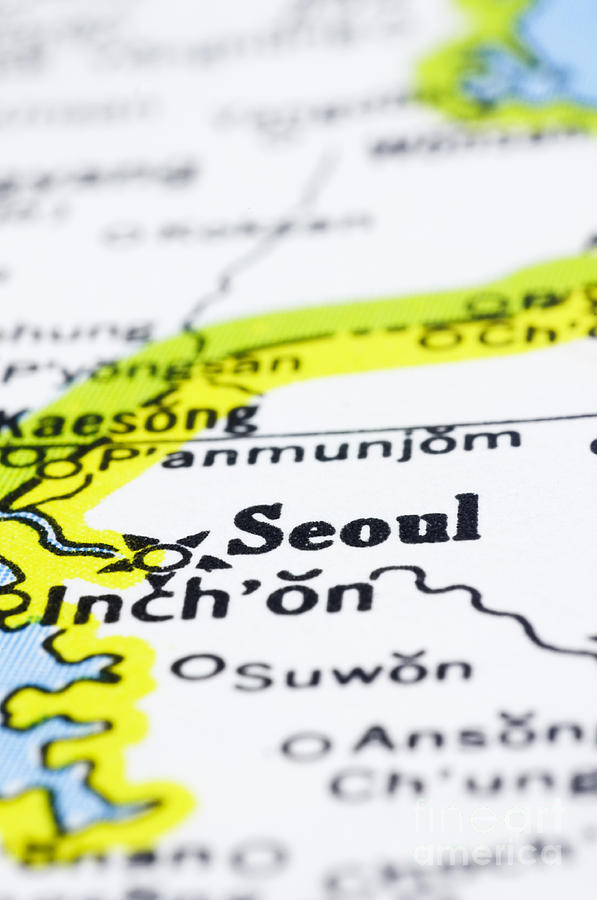 Asia Photograph - close up of Seoul on map-korea by Tuimages