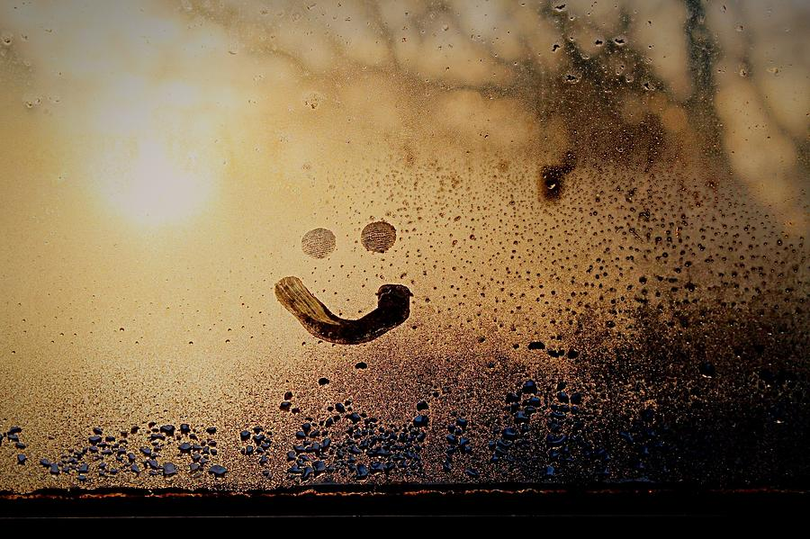 Close-up Of Smiley On Condensed Glass Photograph by Lacy Custance / Eyeem