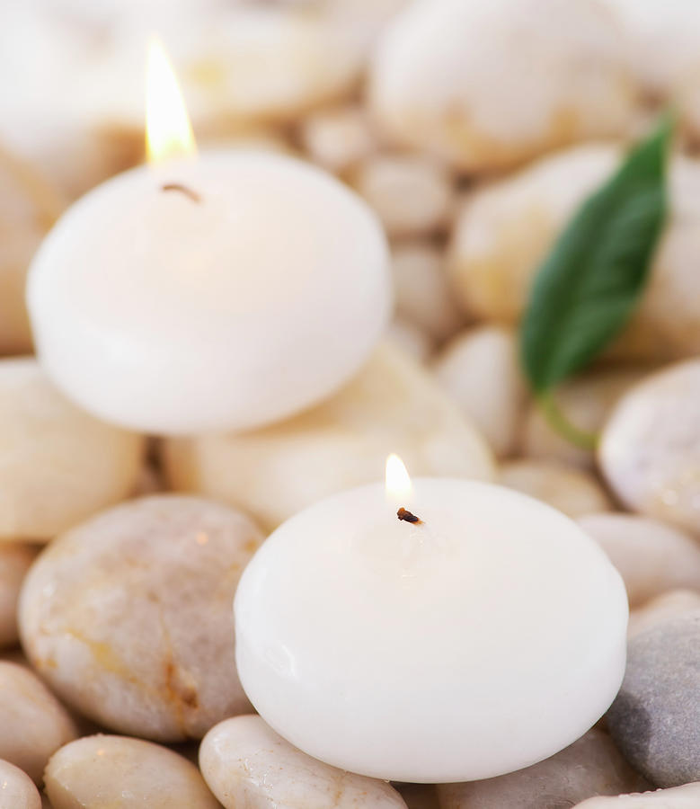 Close Up Of Tea Lights And Green Leaf Photograph by Daniel Grill