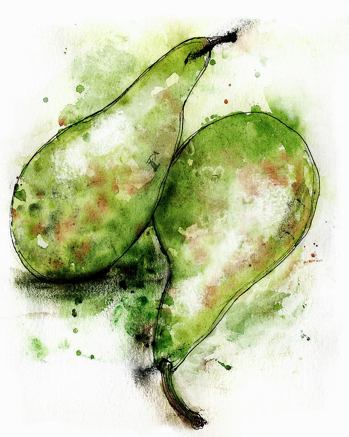 Close-up Painting - Close Up Of Two Green Conference Pears by Ikon Ikon Images