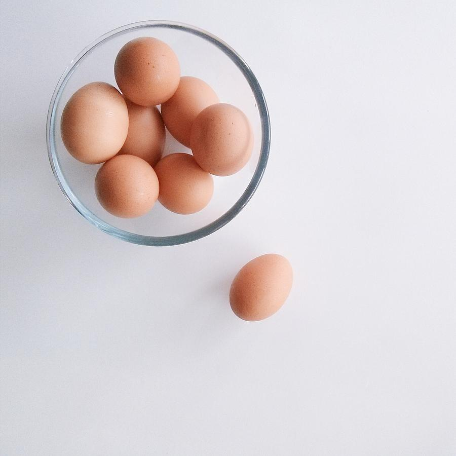 Close-up Overhead View Of Eggs In Bowl Photograph by Avneet Kaur / Eyeem