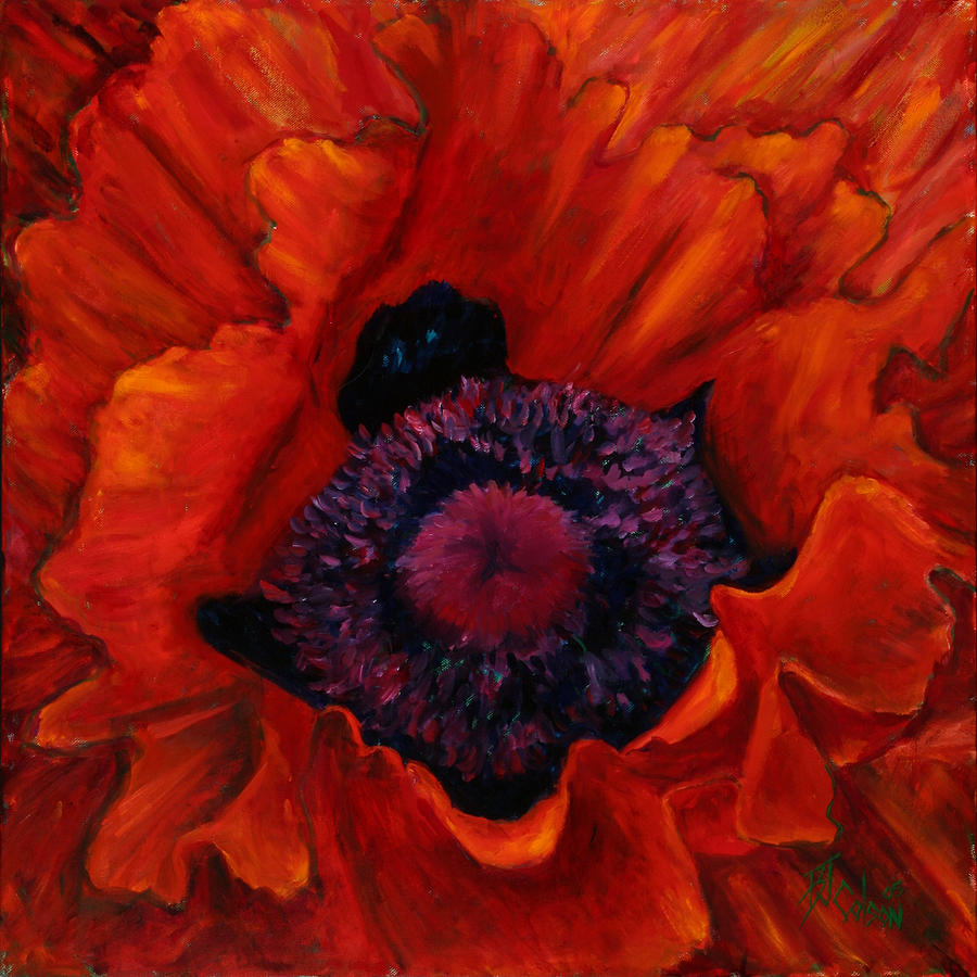 Red Poppy Painting - Close Up Poppy by Billie Colson