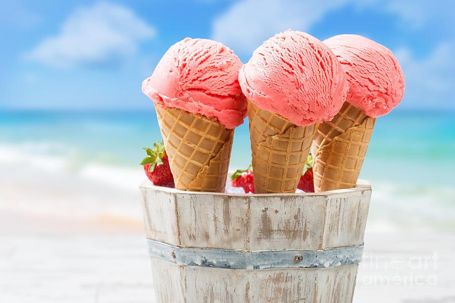 Strawberry Photograph - Close Up Strawberry Ice Creams by Amanda Elwell