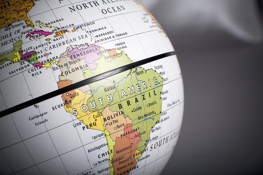 Close Up View Of A Globe On South America Photograph by Mr_wilke