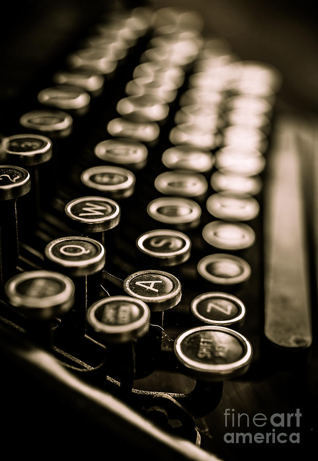 Type Photograph - Close Up Vintage Typewriter by Edward Fielding