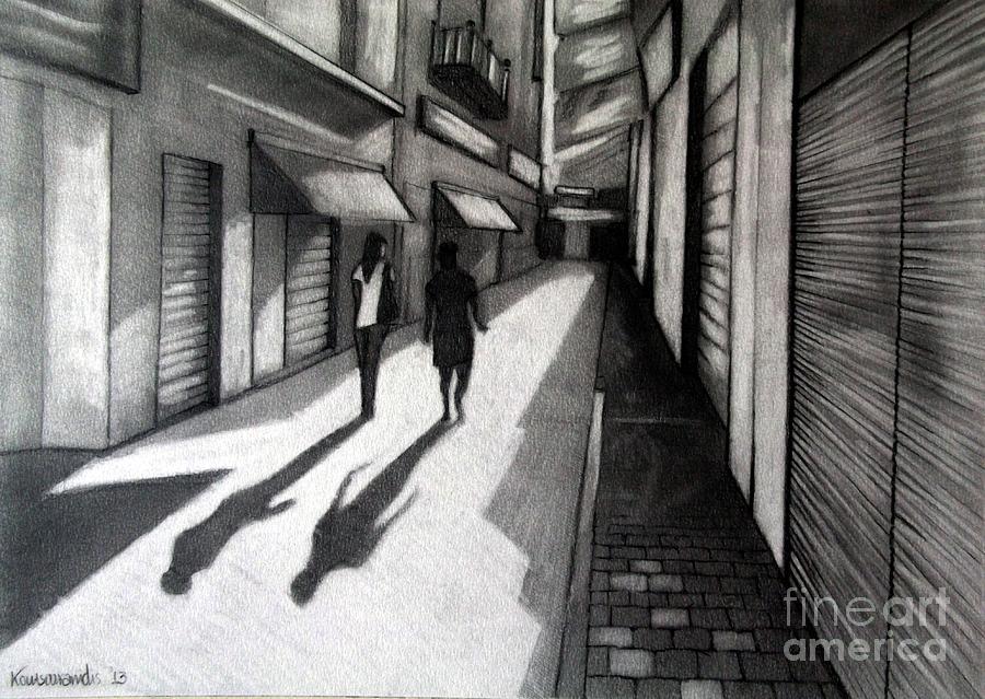 Shops Painting - Closed Shops by Kostas Koutsoukanidis