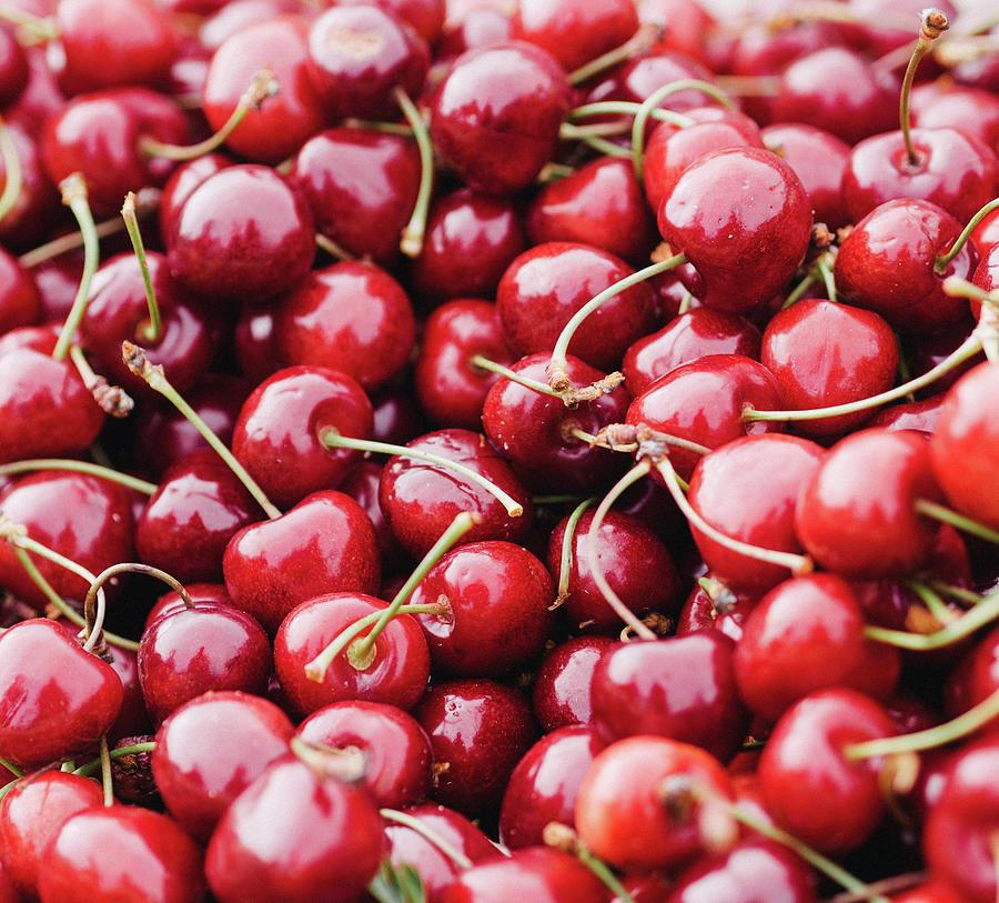 Closeup Of Fresh Cherries Photograph by Miemo Penttinen - Miemo.net