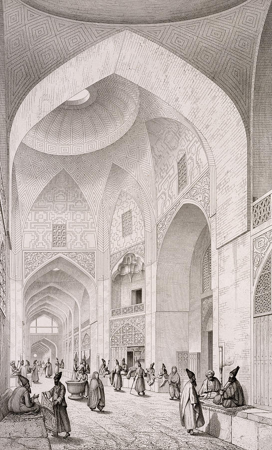 Coste Painting - Cloth Market In Isfahan by Pascal Xavier Coste
