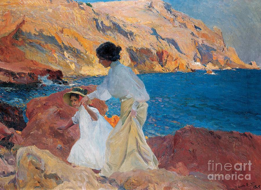Sorolla Painting - Clotilde And Elena On The Rocks by Joaquin Sorolla y Bastida