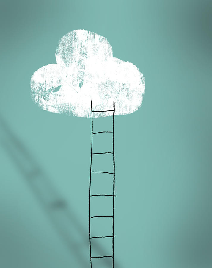 Cloud and ladder - achieving dreams concept Photograph by Mikroman6