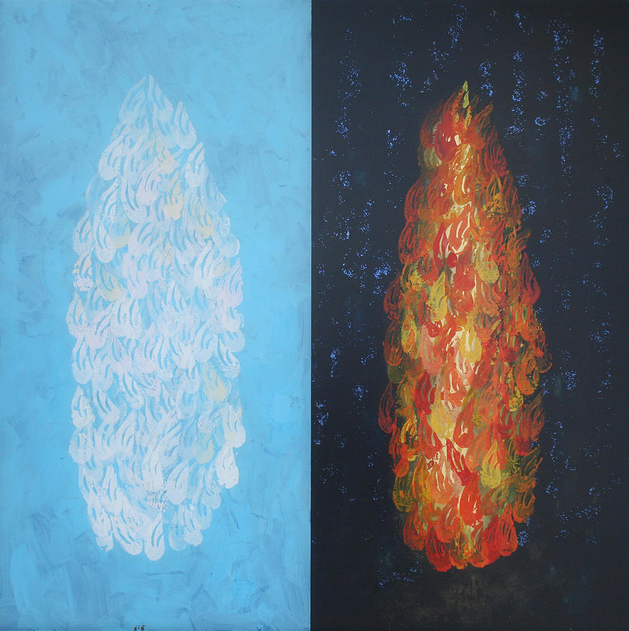 Biblical Painting - Cloud By Day Fire By Night by Mordecai Colodner