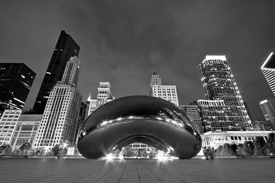 3scape Photograph - Cloud Gate And Skyline by Adam Romanowicz