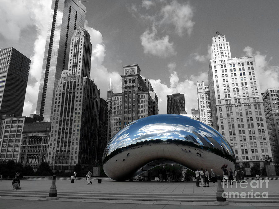 Chicago Photograph - Cloud Gate B-W Chicago by David Bearden