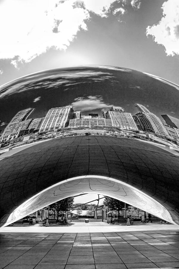 Chicago Photograph - Cloud Gate Under The Bean Black And White by Christopher Arndt