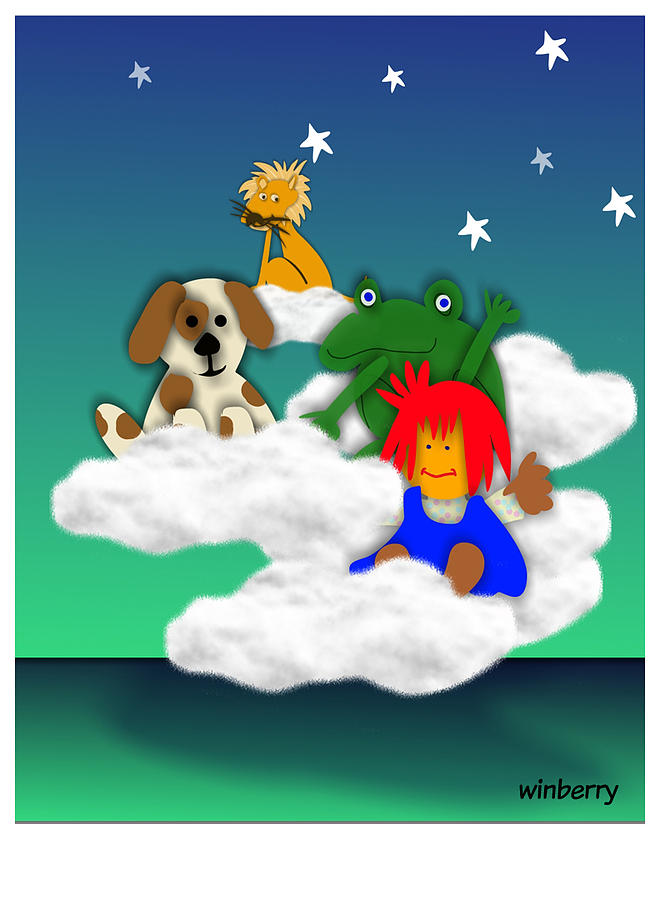 Winberry Digital Art - Cloud Kids by Bob Winberry