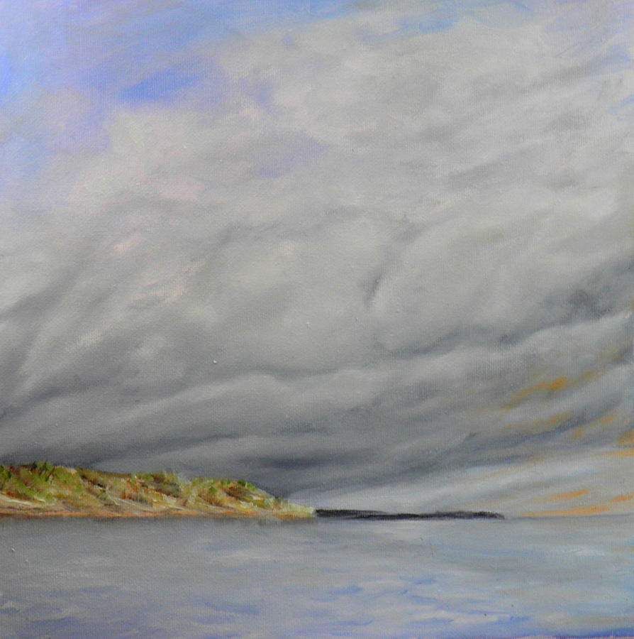 cloud study at Willows beach Painting by Ida Eriksen